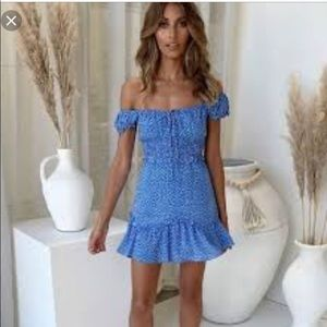 Little Lace Australia Polka dot off shoulder dress